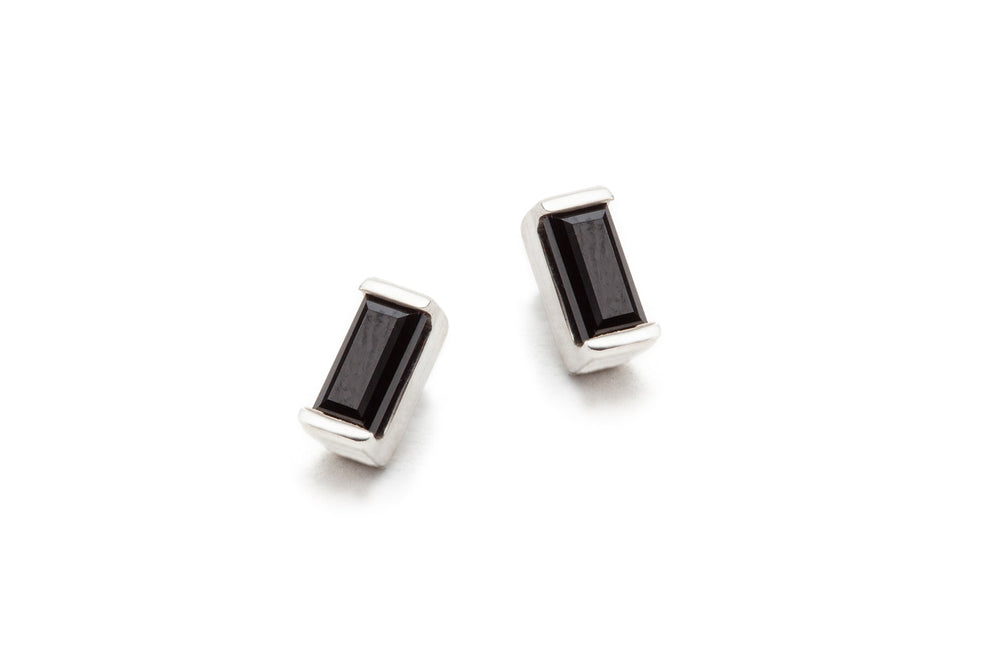 Load image into Gallery viewer, Petite Baguette Earrings in Sterling Silver