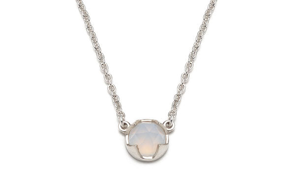 Rose Cut Blue Chalcedony Necklace