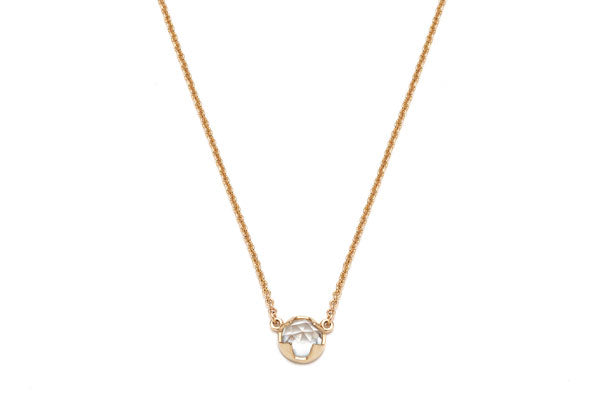 Rosecut Topaz Necklace in Yellow Gold / 16 in