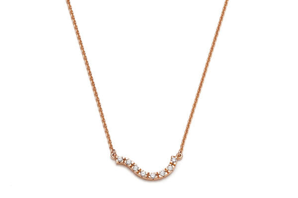 Wave Diamond Necklace in Rose Gold / 17 in