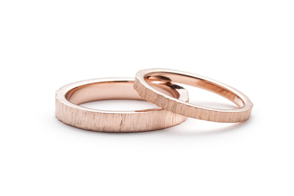 14k Rose Gold 2mm Ridge Band
