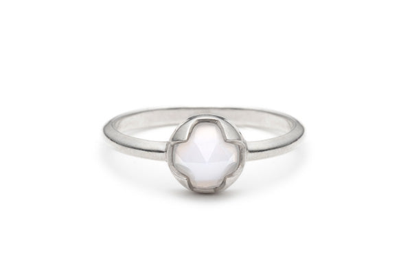 Rose Cut Blue Chalcedony Ring