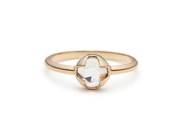 Rose Cut White Topaz Ring