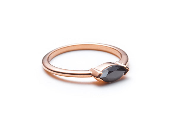 Marquise Black Spinel Ring in Rose Gold / Size 6.25