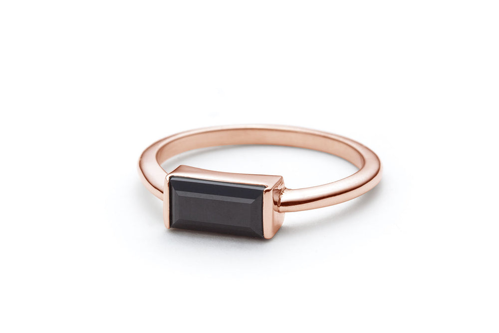 Baguette Black Spinel Ring in Rose Gold