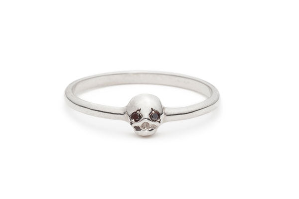 Memento Mori Ring in Silver with Black Diamonds