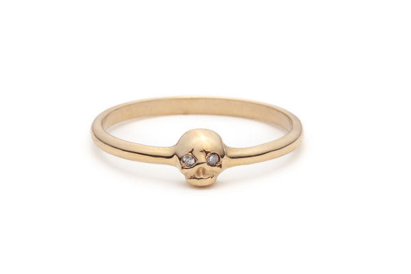 Memento Mori Ring with Grey Diamonds in Yellow Gold / Size 6.75
