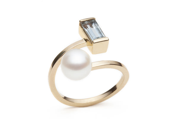 Open Aquamarine & Pearl Ring size 7.5
