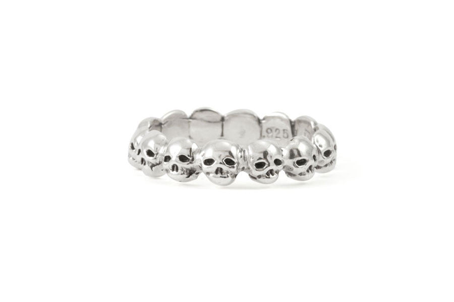 Load image into Gallery viewer, Sterling Silver Memento Mori Skull Ring