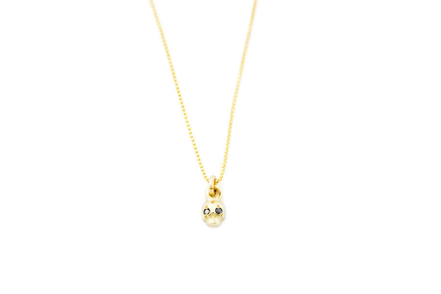 Gold & Black Diamond Memento Mori Necklace