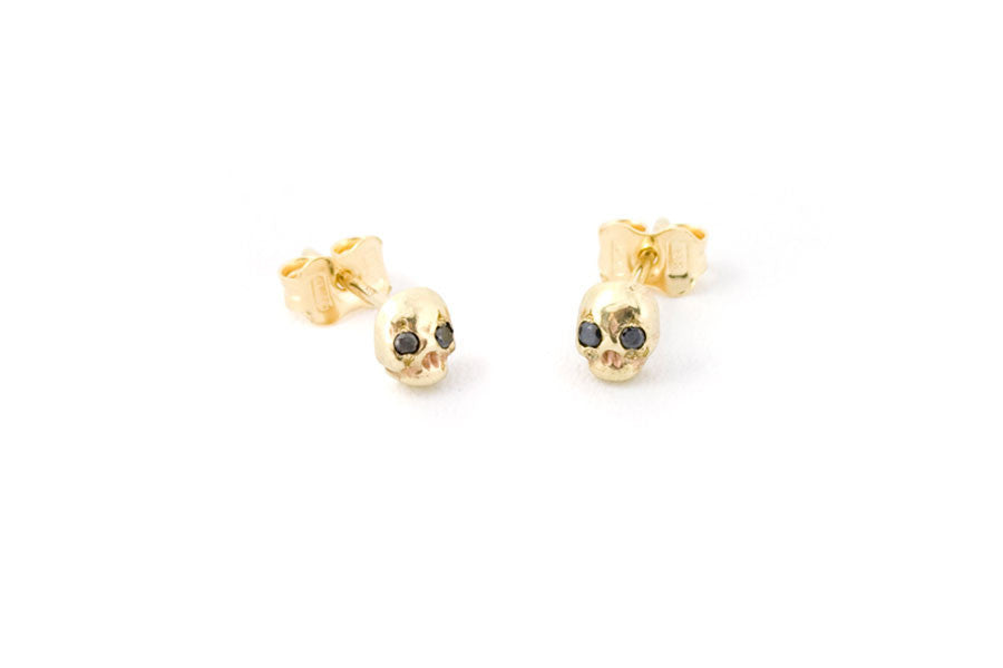 Gold & Black Diamond Memento Mori Earrings