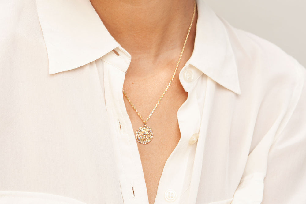 14K Gold Mineral and Diamond Medallion Necklace