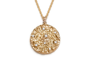 Mineral and Diamond Medallion Necklace in 14K Gold