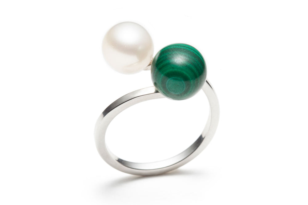 Open Pearl & Malachite Silver Ring / size 6