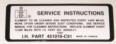 Service Instructions Decal - Scout II