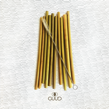 Load image into Gallery viewer, 10 Pack All Natural Bamboo Straws - GUUD Products