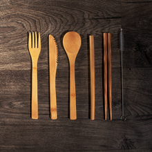 Load image into Gallery viewer, 6-piece Bamboo Cutlery
