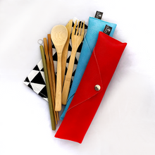 Load image into Gallery viewer, GUUD Brand 6-piece Bamboo Cutlery Set and Travel Pouch - GUUD Products