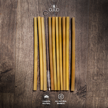 Load image into Gallery viewer, 10 Pack All Natural Bamboo Straws