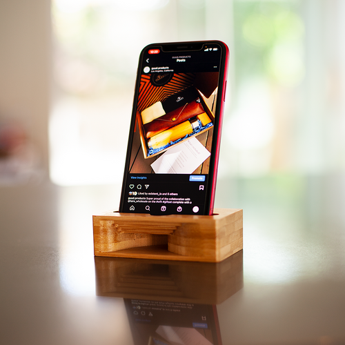 Bamboo Cell Phone Docking/Holder with Acoustic Speaker Design
