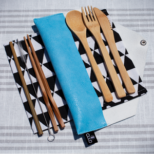 6-piece Bamboo Cutlery Set with Travel Pouch