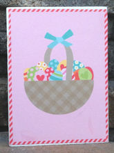Load image into Gallery viewer, wood blocks, decorative blocks, Easter, basket, eggs, pink