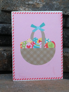wood blocks, decorative blocks, Easter, basket, eggs, pink