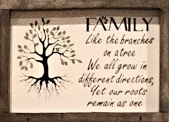 NEW! Family Tree Farmhouse Framed Sign