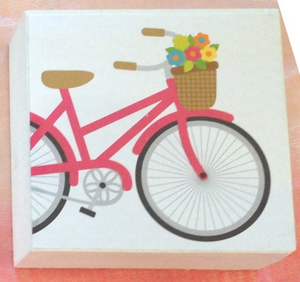 wood blocks, decorative blocks, summer, sunshine, flowers, bicycle, pink