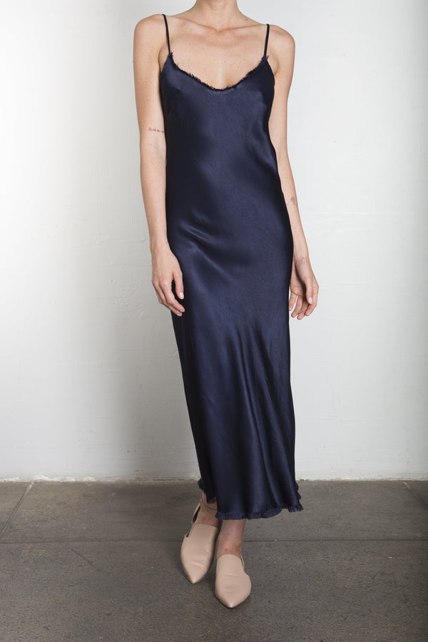Farrah Slip Dress in Vintage Satin - Night