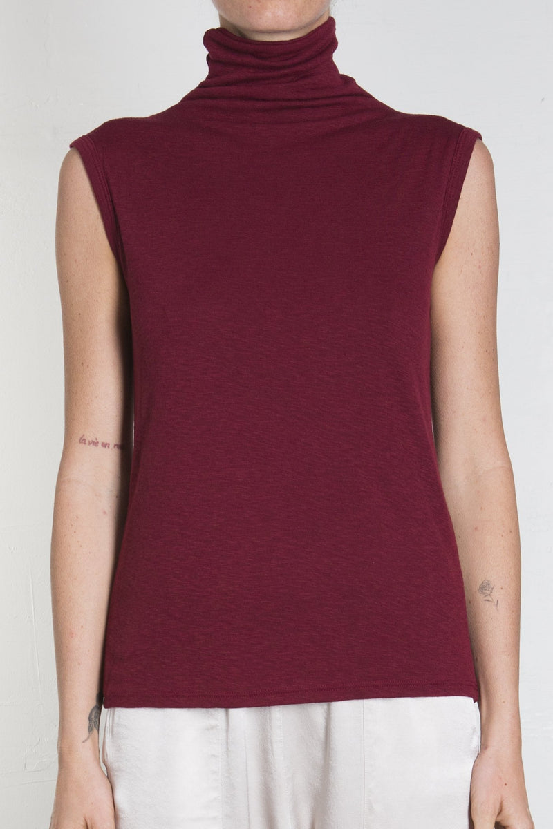 Pharaoh Plush Sleeveless Mock Turtleneck - Ruby