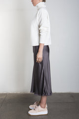 Riley Skirt in Vintage Satin Skirt - Graphite