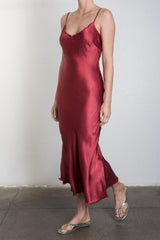 Pharaoh Farrah Slip Dress in Vintage Satin - Crimson