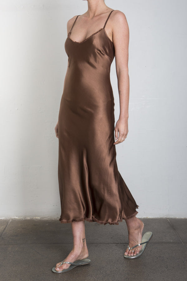 Farrah Slip Dress in Vintage Satin - EARTH