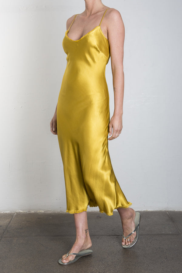 Farrah Slip Dress in Vintage Satin - SUN