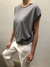 Jersey Tuck Shell - Heather Grey