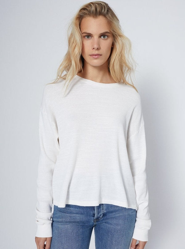 RE/DONE THERMAL LONG SLEEVE TEE - WHITE