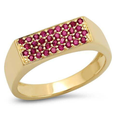 ERINESS RUBY STAPLE SIGNET RING