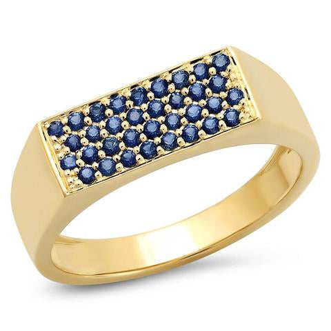 Eriness Blue Sapphire Staple Signet Ring