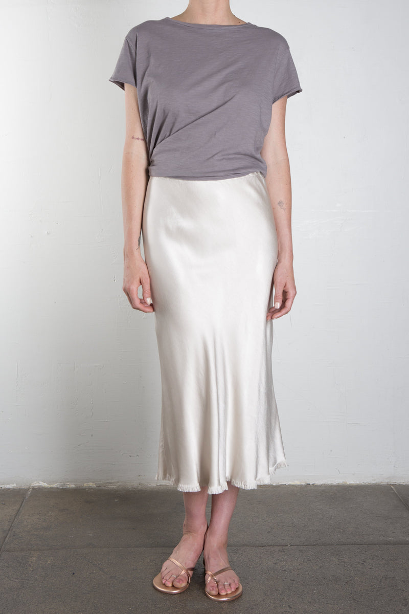 Riley Vintage Satin Skirt - Parchment