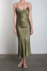 Pharaoh Farrah Slip Dress in Vintage Satin - Olive