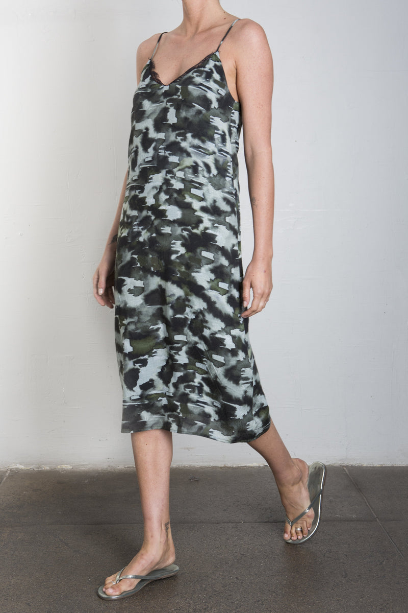 AMY LACE TRIM DRESS - CAMO