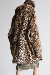 R13 OVERSIZED FAUX LEOPARD HUNTING COAT