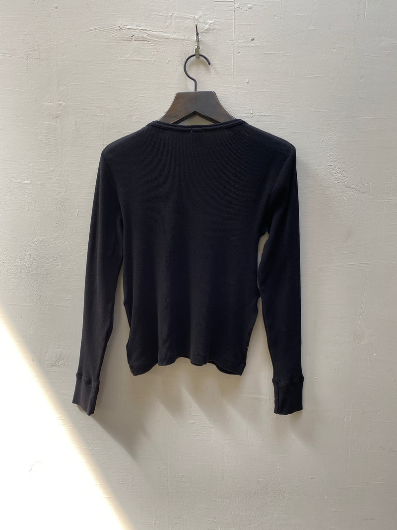 RE/DONE 60s Slim Henley Long Sleeve - Black