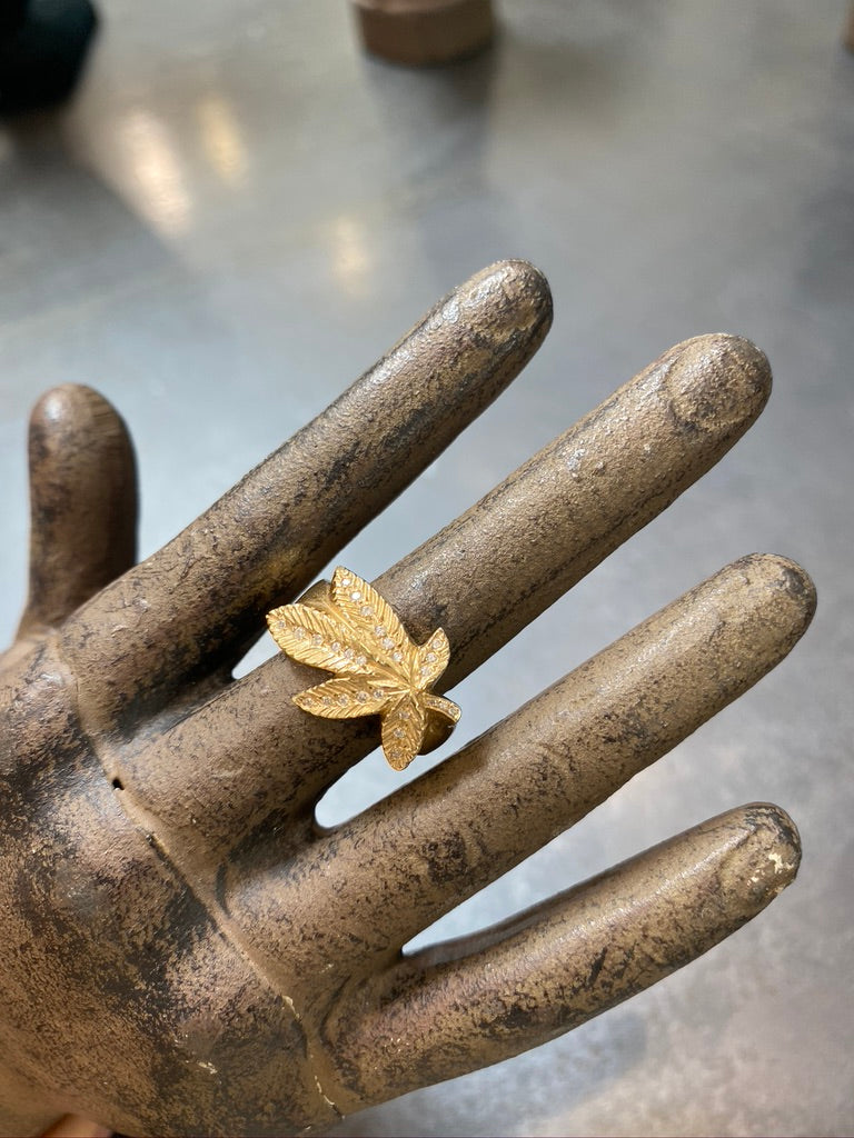 Logan Hollowell Pot Leaf Ring with Diamonds