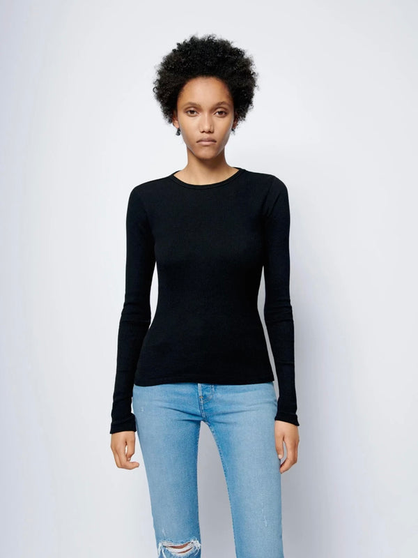 RE/DONE 60s Ribbed Long Sleeved Tee - Black
