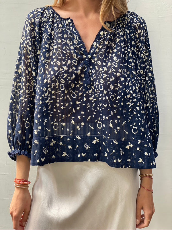 THE GREAT Perch Top - Navy Prairie Floral