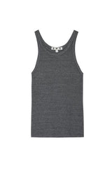 AMO LONG RIBBED TANK - HEATHER GREY
