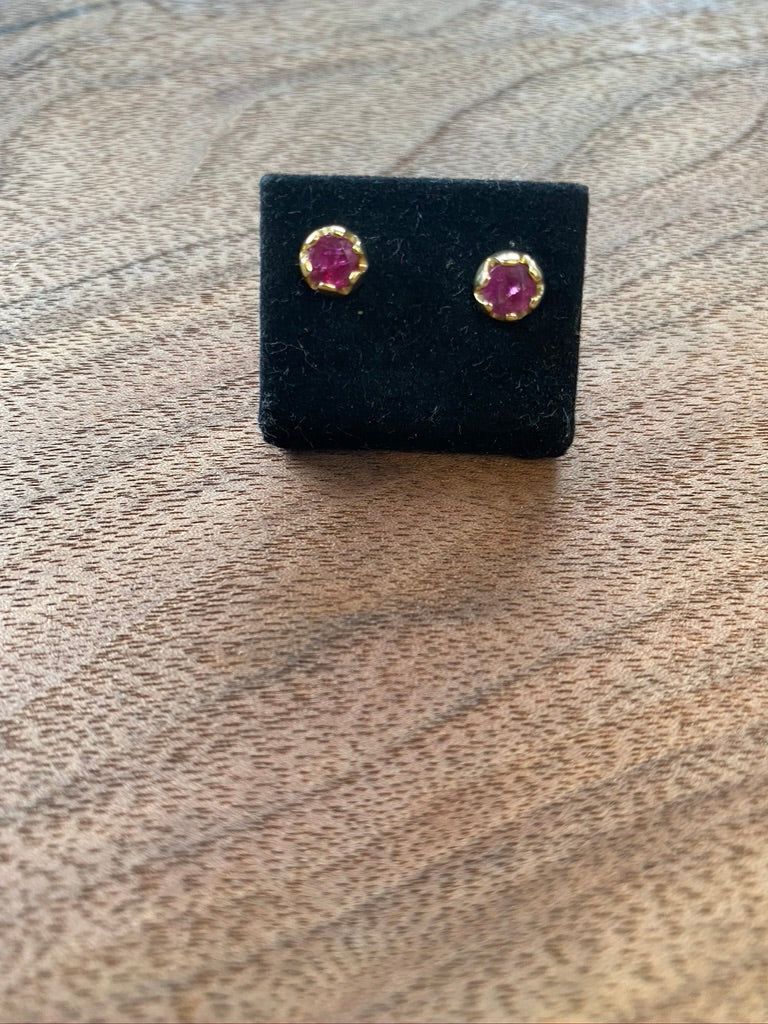 Logan Hollowell Crown Bezel Ruby Studs