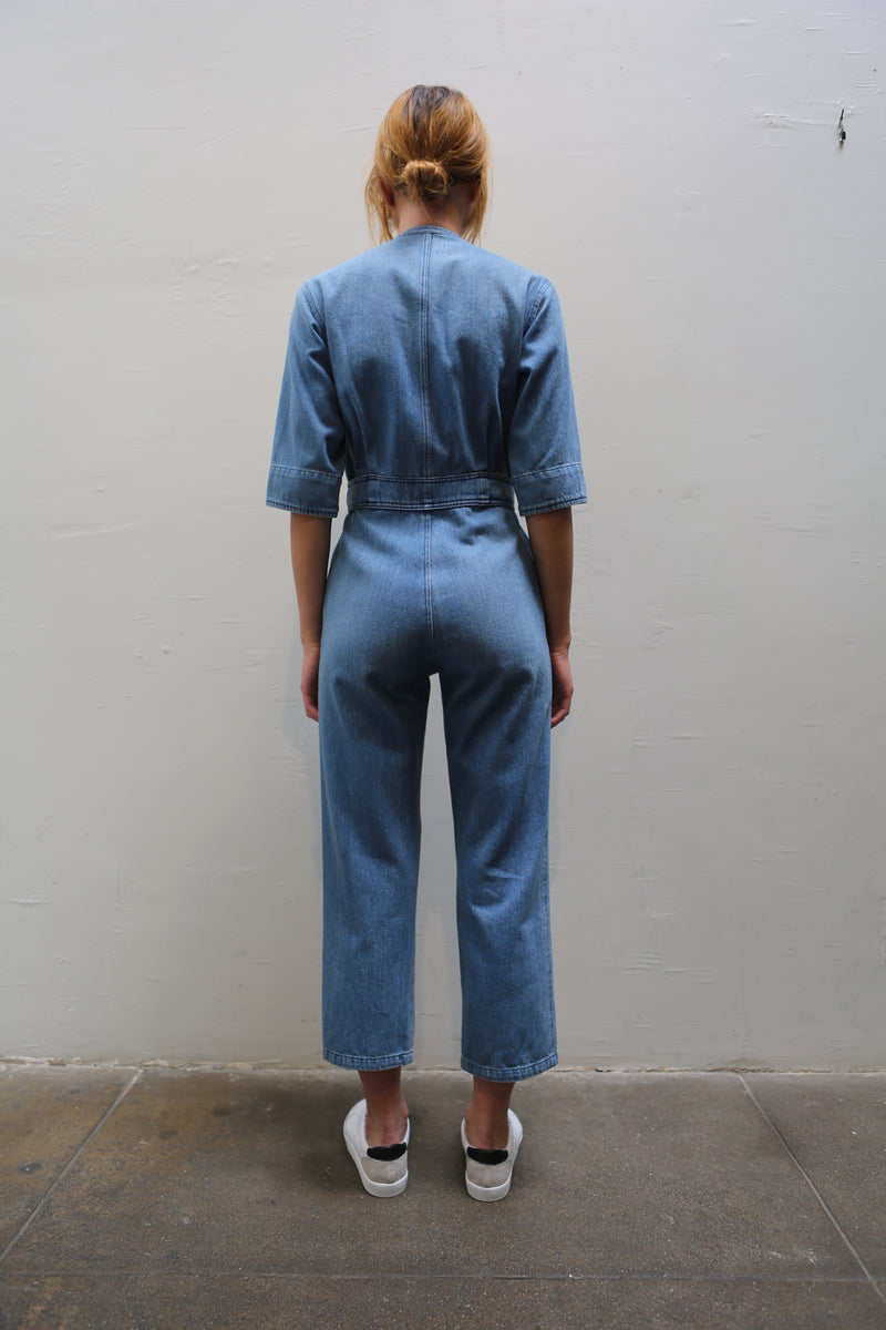 OVERLOVER Echo Denim Jumpsuit w/Zipper - Light Blue